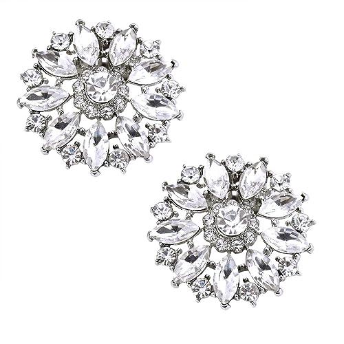 ca6b6da692827 ElegantPark Fashion Decorative Round Rhinestones Crystal Wedding Party Shoe  Clips 2 Pcs