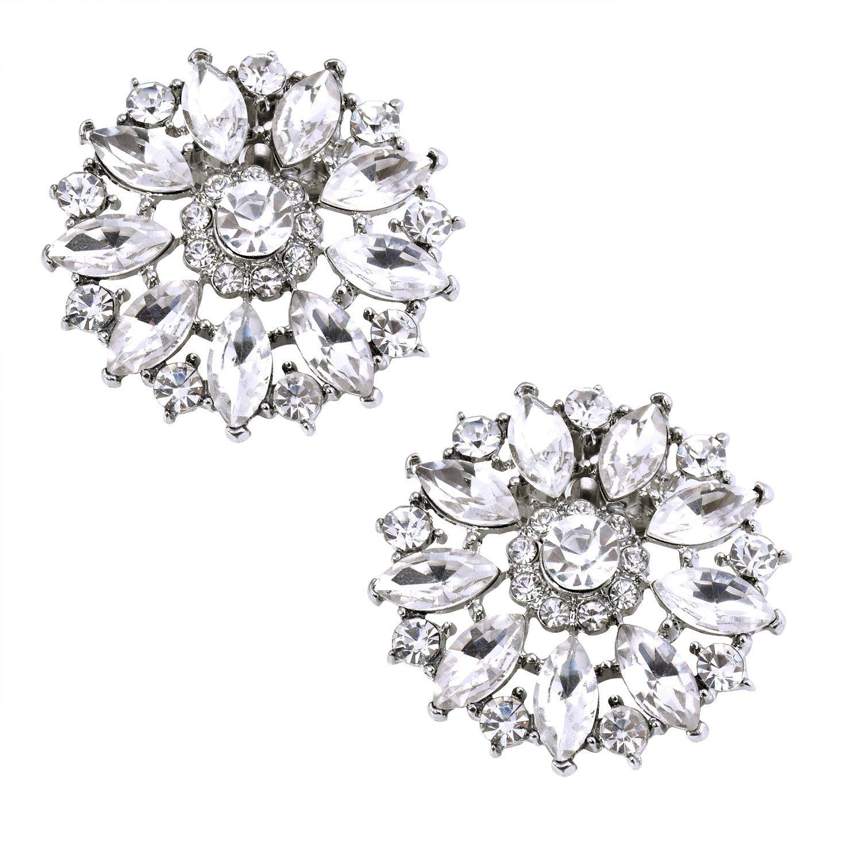 ElegantPark BQ Shoes Clips Round Rhinestones Crystal Fashion Wedding Party Decorative 2 Pcs Silver