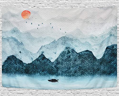 Likiyol Foggy Mountain Tapestry Sunset Birds Boat Lake Tapestry Watercolor Nature Landscape Tapestries Wall Hanging for Room Grey, 70.9 x 92.5 inches