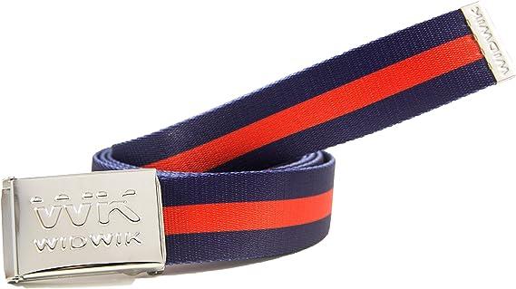 Cinturón elegante y clásico con estampado Azul con Raya Roja de la marca Widwik: Amazon.es: Ropa y accesorios