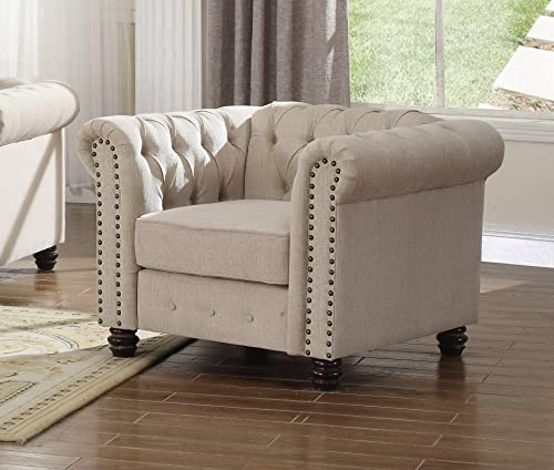 Best Master Furniture Venice Upholstered Chair, Beige