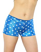 Ujena Fit Metallic Blue with White Stars Active Booty Shorts