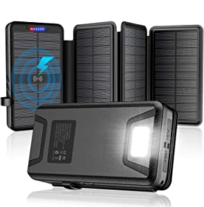 Solar Charger,Solar Power Bank,35800mAh with Dual 3.1A Outputs Qi Wireless Charger,IP66 Waterproof Ultra Bright Led Flashlights Compatible All USB Device