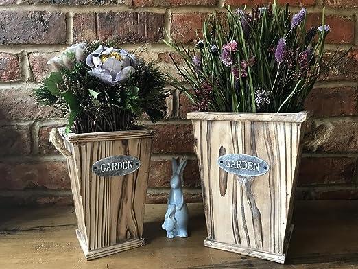 S/2 vintage rústico de madera jardín planta grande cubos jarrón de flores macetas: Amazon.es: Hogar