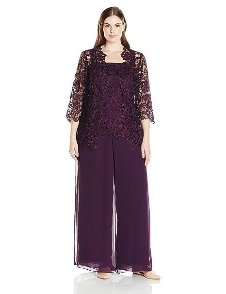 b3e881bb03c7e Emma Street Womens Plus Size Lace Pant Suit Combo Dress  Amazon.ca ...