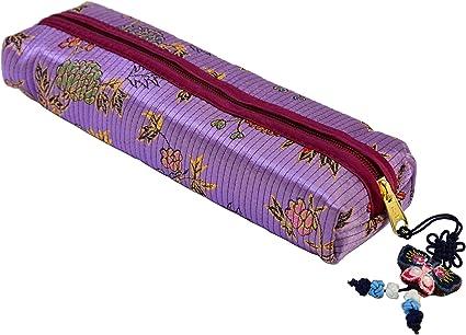 Violeta tela estuche para lápices con cierre diseño de flores y hojas de - diseño de piel de brocado de, alimentación School chica con: Amazon.es: Oficina y papelería