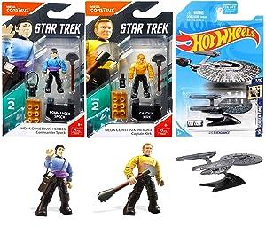 Trek Mission Star Figure Buildable Pack Commander Spock & Captain Kirk Mega Construx Heroes Screen Ship Hot Wheels 2019 USS Vengeance Action Retro Figure 3 Item Bundle