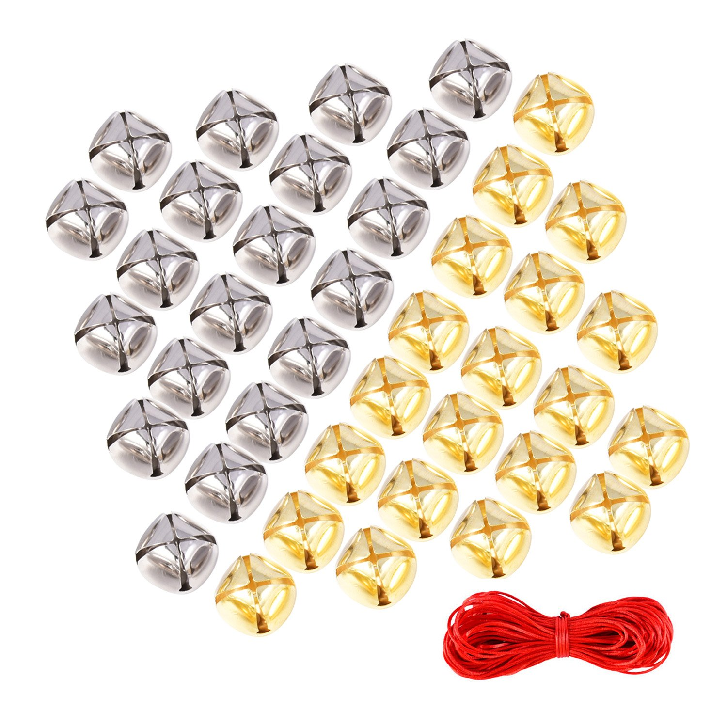 1 Inch Jingle Bells Craft Bells Christmas for Festival Decoration DIY Craft with 20 m Red Cord, 60 Pieces, Gold and Silver Sumind