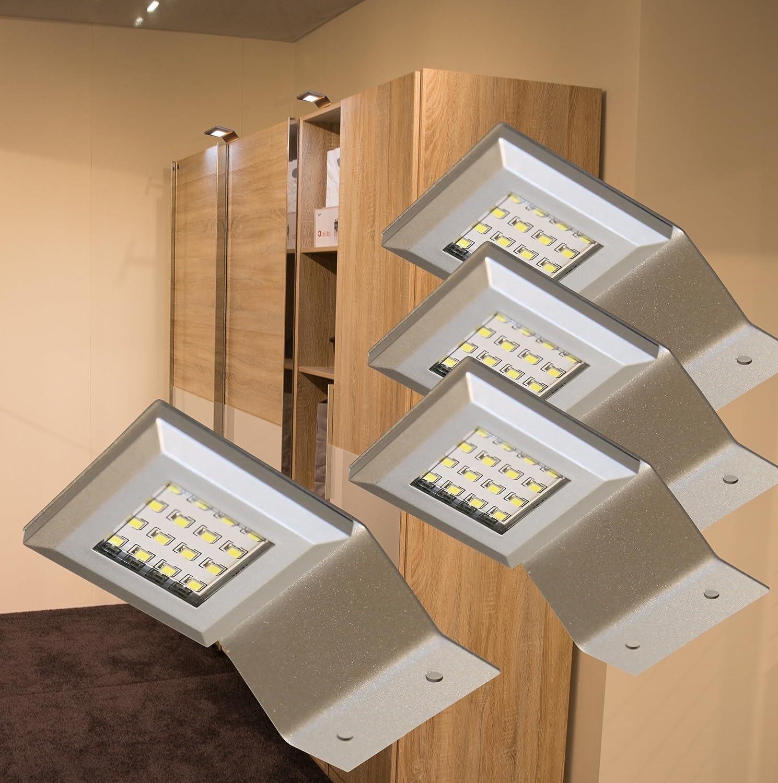 LED Aufbauleuchten Alu   4-er Set   2365-4 Lichtfarbe warm weiß   Komplettset mit LED Netzteil Schalter Steckverbindung   Schrankleuchte   Aufbauleuchte   Möbelbeleuchtung