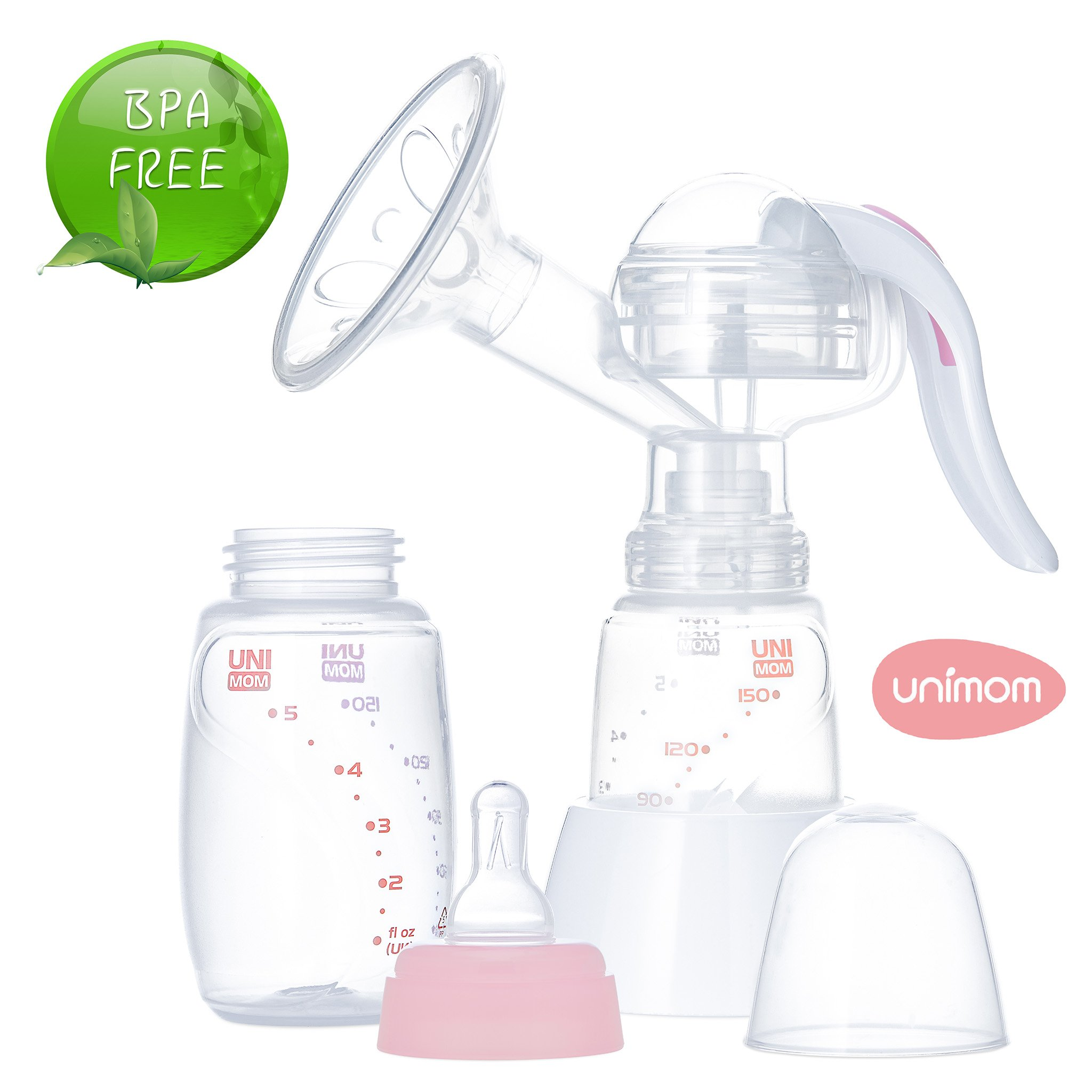 Unimom Manual Breast Pump with Soft Silicone Massaging Breast Shield - Ergonomic Rubber Handle - Includes Bottle and Stand - BPA Free - by Unimom by unimom