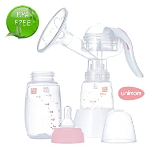 Unimom Manual Breast Pump with Soft Silicone Massaging Breast Shield – Ergonomic Rubber Handle - Includes Bottle and Stand - BPA Free – by Unimom