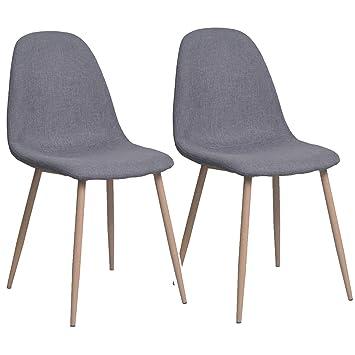 Miroytengo Pack 2 sillas Comedor Pata Metal Efecto Madera Revestimiento Tela Color Gris Estilo Moderno