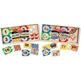 Melissa & Doug Self-Correcting Letter and Number Wooden Puzzles Set With Storage Box