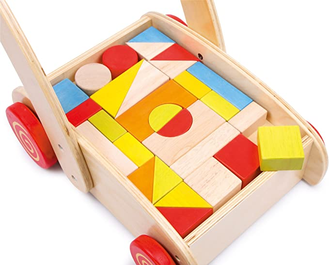 SpielMaus Holz Laufwagen mit Baukl/ötzen