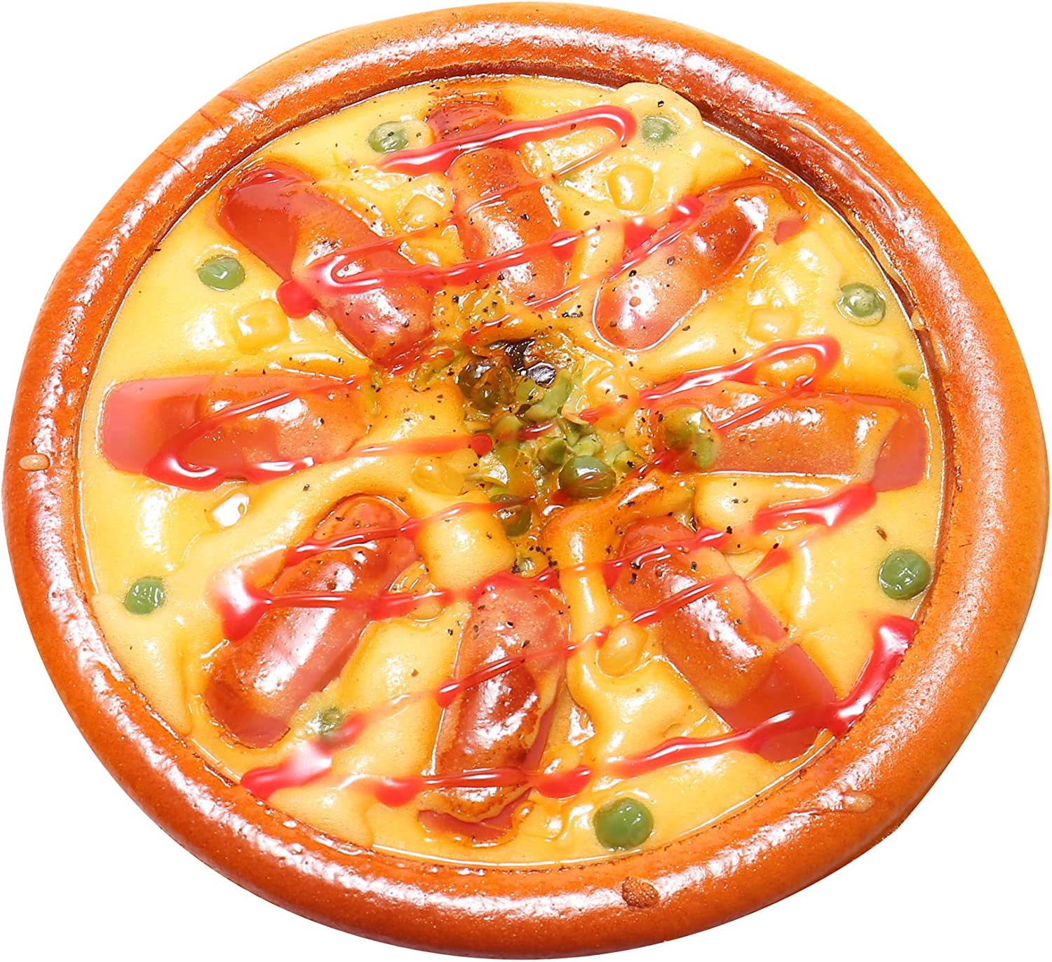 Fake Pizza for Display, Artificial Seafood Hotdog Peigen Play Bake Foods, Perfect for Kids Pretend Cook Party, Kitchen Realistic Foods Decorations, 1 Piece (Ham Pizza)