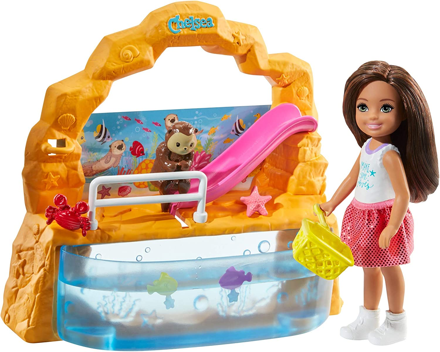 ​Barbie Club Chelsea Doll and Aquarium Playset, 6-Inch Brunette, with Accessories, Gift for 3 to 7 Year Olds