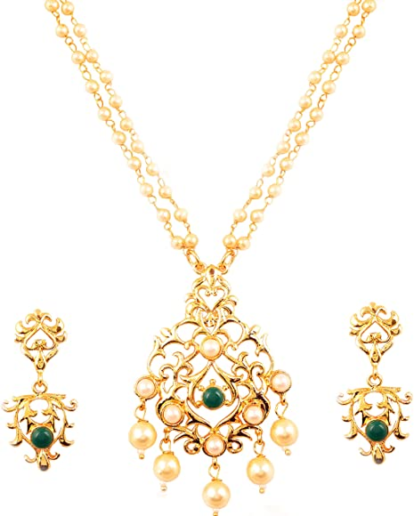 Touchstone Mughal Collection Indian Bollywood Faux Pearls Ruby Emerald Meenakari Enamel Charming Grand Bridal Designer Wedding Jewelry Necklace Set for Women.