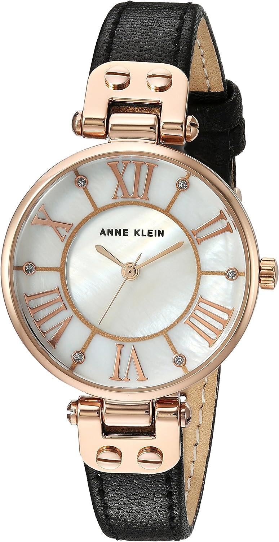 Anne Klein Reloj de pulsera de cuero con detalles de purpurina para mujer