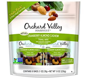 ORCHARD VALLEY HARVEST Cranberry Almond Cashew Trail Mix,1 oz (Pack of 8), Non-GMO, No Artificial Ingredients