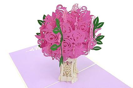 PopLife Cards Rosa rosa ramo pop up tarjeta del día de las madres para todas las ocasiones - tarjeta del día de la madre, boda, feliz cumpleaños, ...