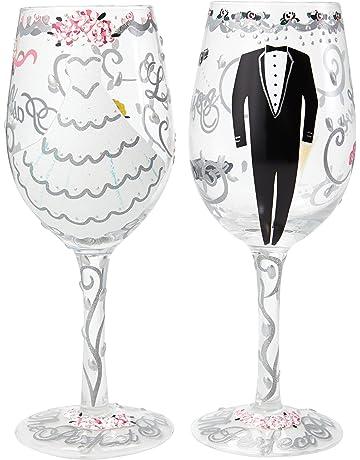 Lolita SETW-5522A Bride and Groom - Juego de 2 copas de vino pintado a