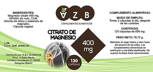 Citrato de magnesio 400 mg, 120 Cápsulas, AZB Complementos: Amazon.es: Salud y cuidado personal