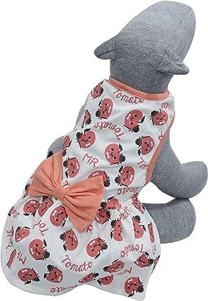 Roupa para Cães e Gatos Vestido Tomatinhos com Laço PP