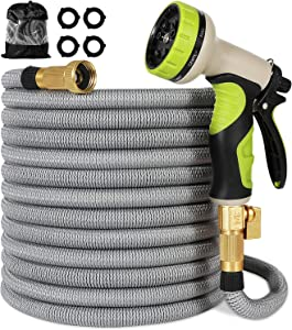Linquo 150 ft Garden Hose - All New Expandable Water Hose with Dual Latex Core, Solid Brass Connectors Fittings, Expanding Extra Strength Retractable Fabric - Flexible Hose with Spray Nozzle