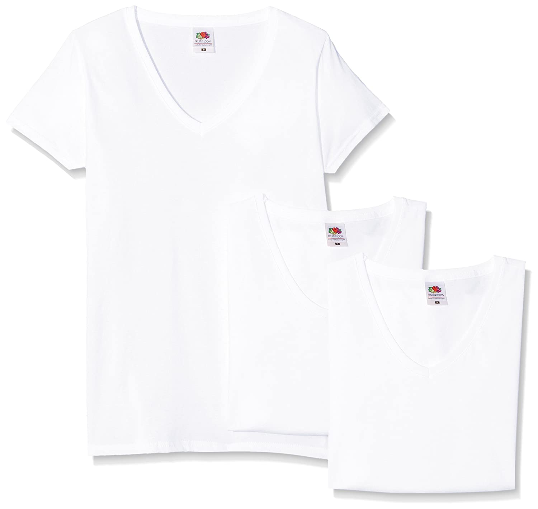 TALLA L. Fruit of the Loom Camiseta (Pack de 3) para Mujer