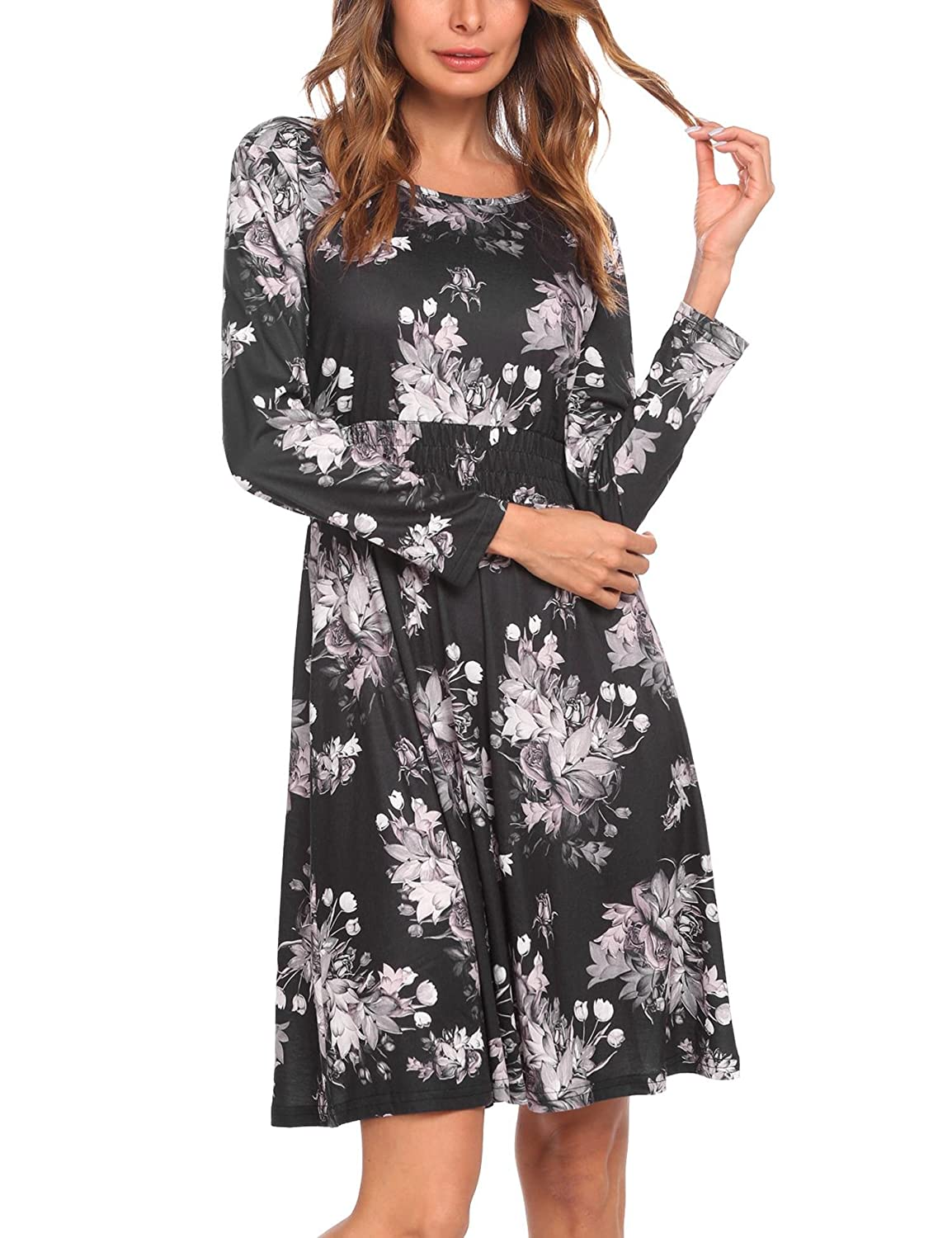 Pinsparkle Women Casual Long Sleeve Floral Print Fit And Flare Dress