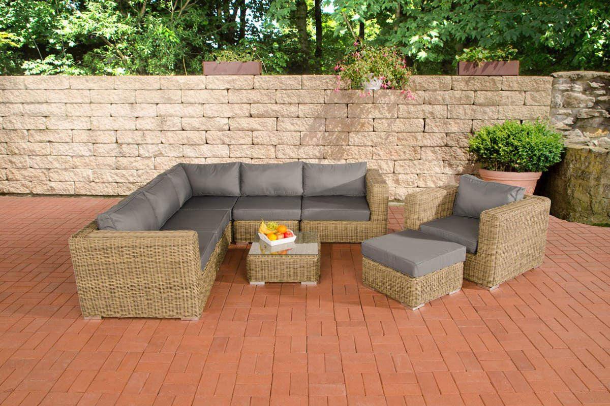 Clp poly rattan lounge set ariano 5 mm rund geflecht alu for Lounge set rattan gunstig