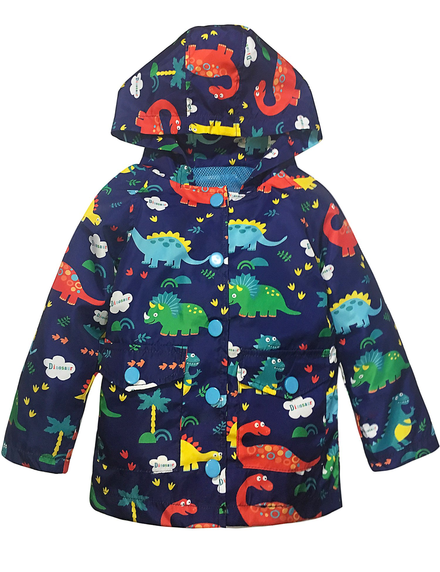 YNIQ Boys Kids Children Lightwight Print Hooded Waterproof Raincoat for Little Boys