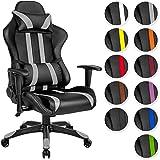 TecTake Poltrona sedia direzionale da ufficio racer racing classe di lusso con supporto lombare nero grigio