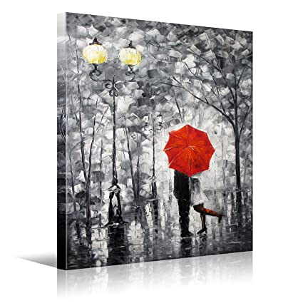 Amazon.com: Eatco HD Art Lovers Kiss Under The Red Umbrella On The ...