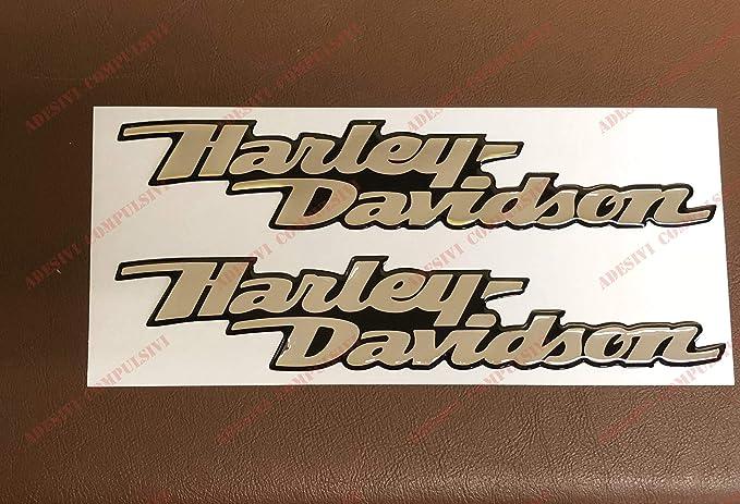 couleur argent/ée effet miroir logo Harley Davidson Lot de 2 stickers Base chrom/ée en r/ésine effet 3D Pour r/éservoir ou casque Dyna Street Bob .