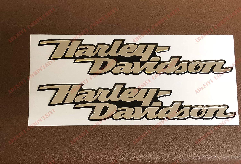 Base CROMO Dyna Street Bob effetto 3D Per SERBATOIO o CASCO argento a specchio coppia adesivi resinati Stemma logo decal HARLEY DAVIDSON