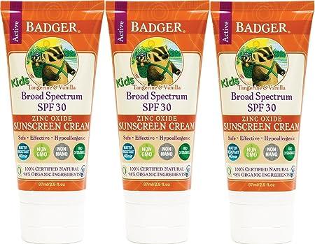Badger Kids Sunscreen Cream SPF 30, 2.9 oz, 3 Pack