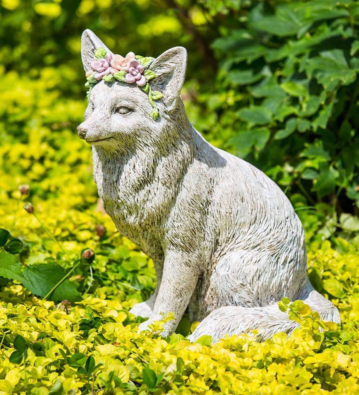 Amazon.com: Estatua de jardín de piedra de zorro de corona ...