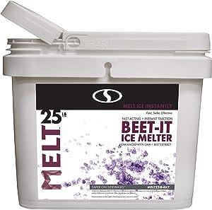 Snow Joe AZ-25-IB-BKT Melt-2-Go Natural Beet Juice Extract + CMA Enriched Ice Melter, 25 lb