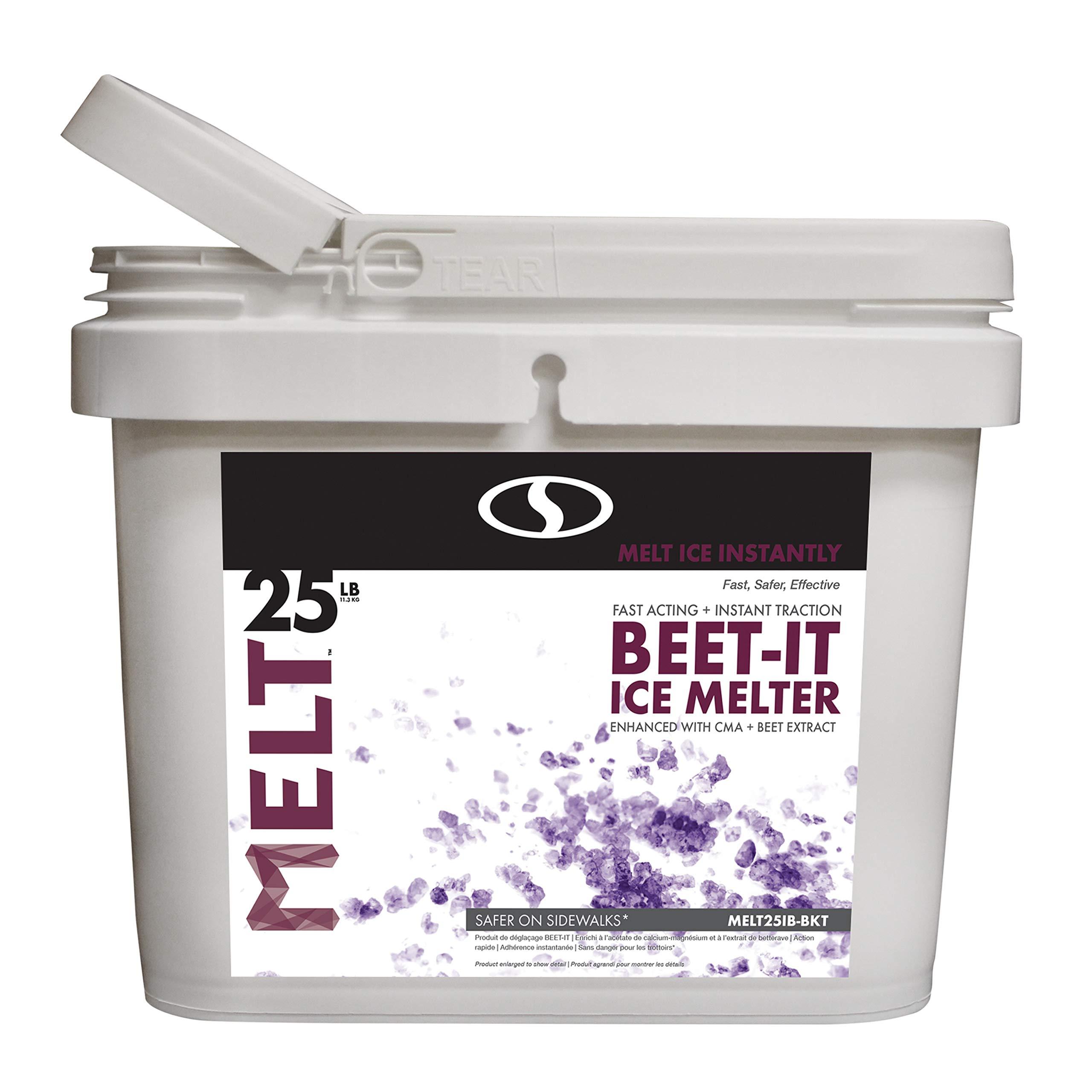 Snow Joe AZ-25-IB-BKT Melt-2-Go Natural Beet Juice Extract + CMA Enriched Ice Melter, 25 lb by Snow Joe
