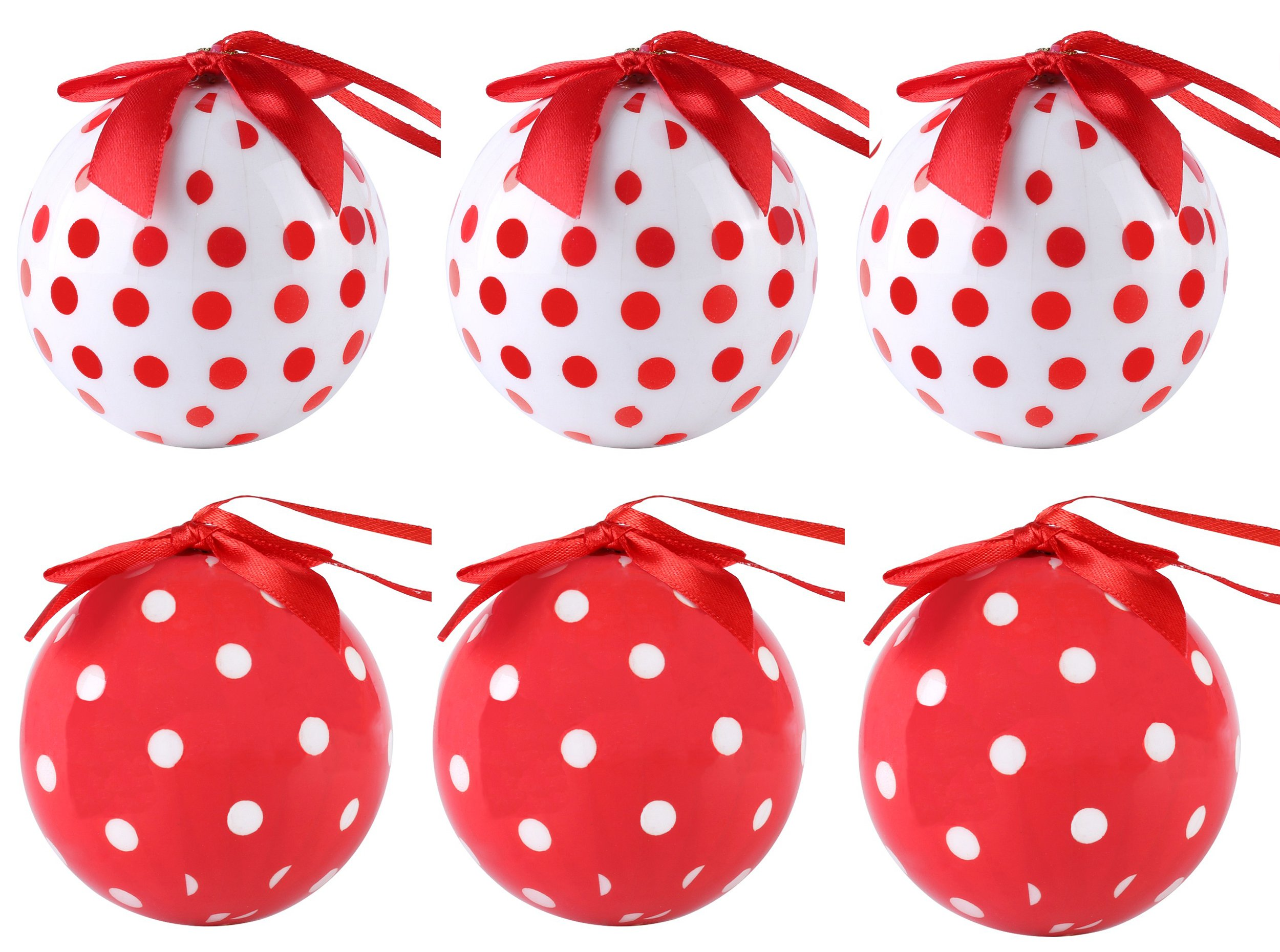 Cue Cue Festive Ready to Hang ( 24 Piece ) 12 Red + 12 White Polka Dots Ornament Set