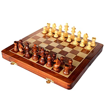 Wooden Hand Crafted (Magnetic) Foldable Chess Board Game