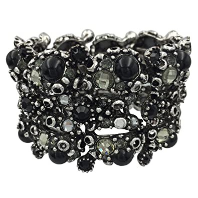 318ddd01911 Amazon.com: Large Wide Rhinestone Statement Big Cuff Bangle Bracelet (Bumpy  Black Dot Silver Tone): Jewelry