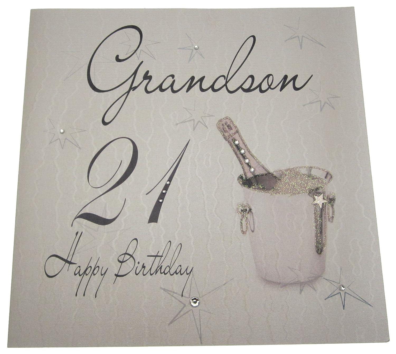 white cotton cards Happy Birthday Grandson 21 Handmade 21ST