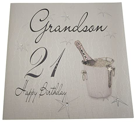 Amazon White Cotton Cards Happy Birthday Grandson 21 Handmade