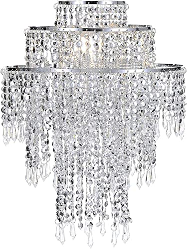 Waneway Large 3 Tiers Silver Sparkling Beads Pendant Shade, Ceiling Chandelier Lampshade with Acrylic Jewel Droplets, Beaded Lampshade with Chrome Frame and Sparkling Beads, Diameter 12.6 , Silver