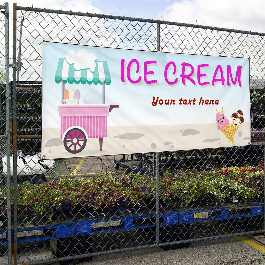 Custom Industrial Vinyl Banner Multiple Sizes Ice Cream Style A Personalized Text Here Funny and Novelty Outdoor Weatherproof Yard Signs Pink 6 Grommets 36x90Inches