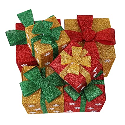 christmas gift boxes decoration lighted sparkling sisal red green yellow gift yard art decor set - Christmas Gift Box Decorations