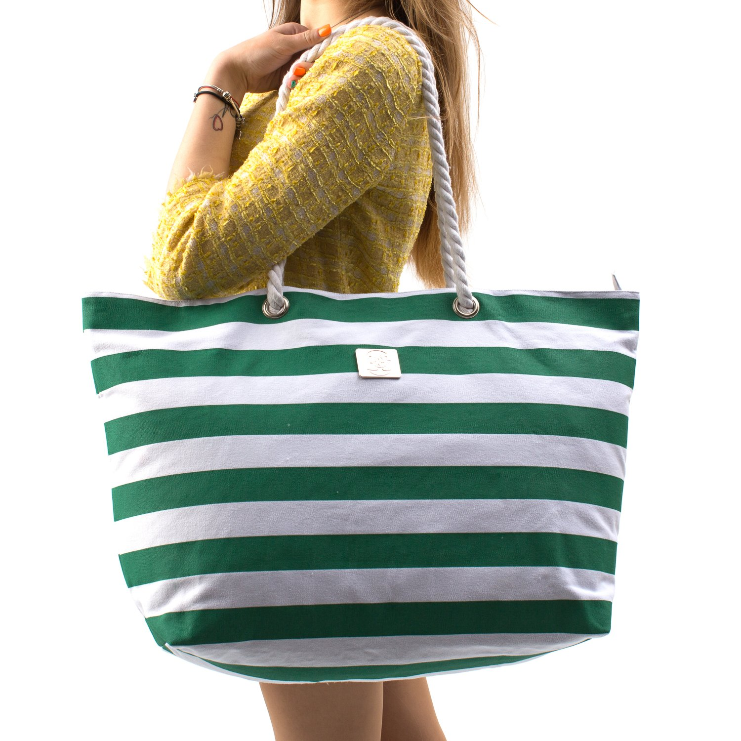 Large Canvas Beach Bag - Perfect Tote Bag For Holidays (Green)