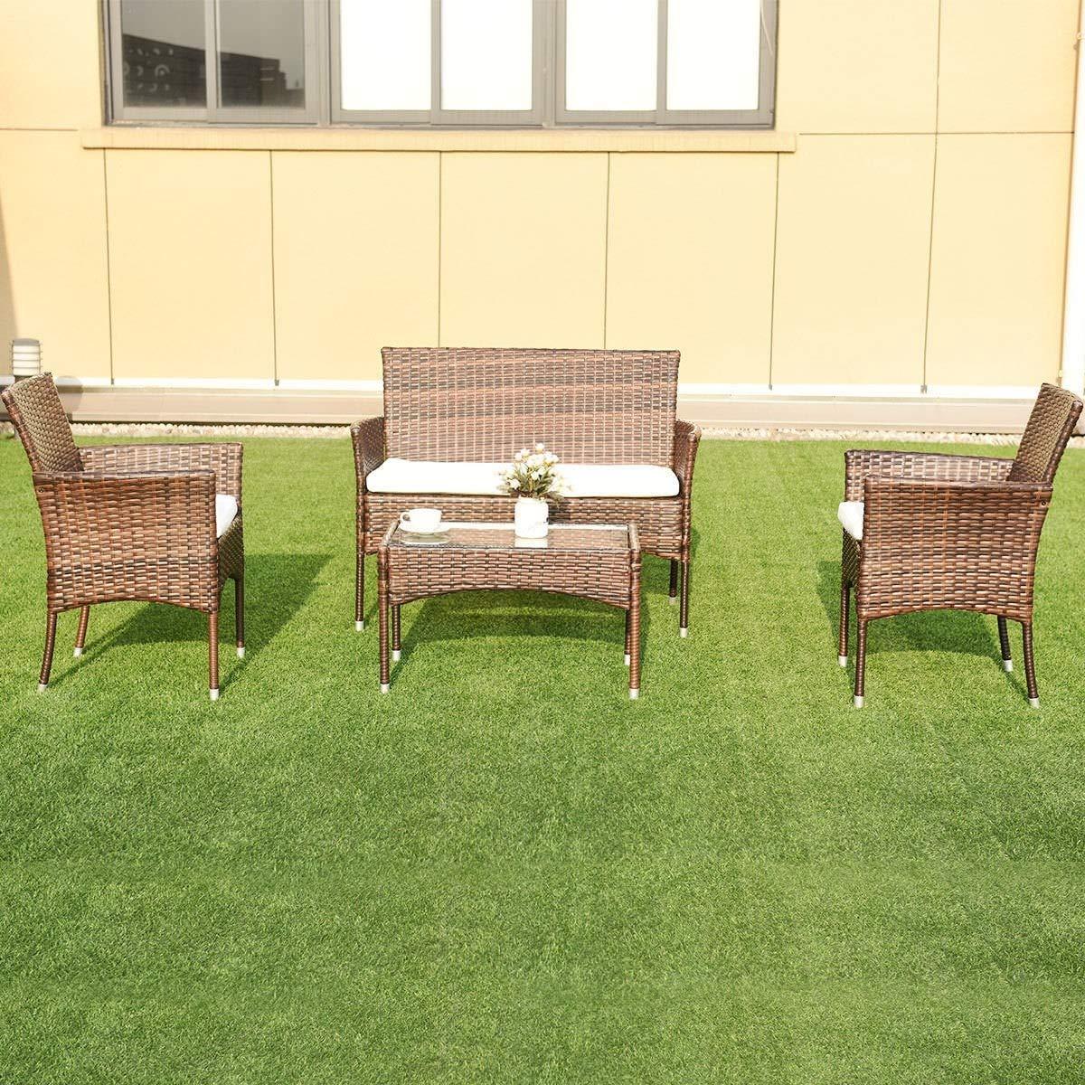 EnjoyShop 4 Pcs PE Rattan Wicker Table Shelf Sofa Furniture Set with Cushion Dining Garden Picnic Outdoor by EnjoyShop (Image #7)